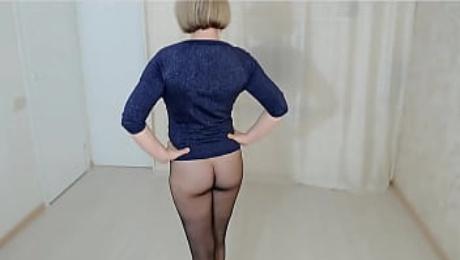 Black seamless pantyhose